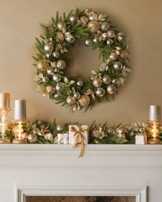 Our Silver and Gold foliage is pre-lit with LED lights and features metallic baubles set against evergreen needles, giving your decor a luminous touch.Check out these Dazzling Christmas Wreaths Elegant Christmas Decor, Silver Christmas Decorations, Classy Christmas, Rustic Christmas, Beautiful Christmas, Winter Christmas, Christmas Time, Gold Christmas Tree, Victorian Christmas
