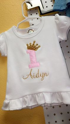 Precious baby pink & gold birthday shirt for miss Aidyn!