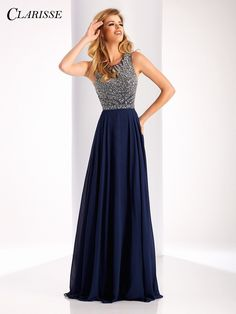 Clarisse Prom 3167 Navy Open Back Chiffon Prom Dress