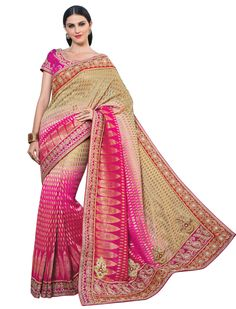 Beige Viscose Butti Wedding Saree 58321
