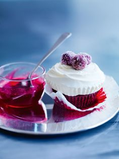 red velvet cupcakes with sugared cranberries