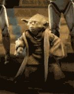"""""""So, Yoda you've been a Habs fan for a LONG time...how are you feeling about our chances against the Bruins on  Saturday night?"""" animated GIF"""