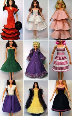 Amazing Barbie Clothes to Knit for Free Sewing Barbie Clothes, Knitting Dolls Clothes, Barbie Clothes Patterns, Doll Dress Patterns, Crochet Doll Clothes, Clothing Patterns, Skirt Patterns, Doily Patterns, Crochet Toys