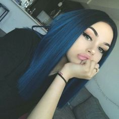 Human Hair Lace Wigs Preferred Hair Blue Hair Wig of Human Hair with Baby Hair Brazilian Ombre Lace Front Wig Short Bob Wigs for Women Dark Blue Hair, Dyed Hair Blue, Dye My Hair, Purple Hair, Short Blue Hair, Gray Hair, Pastel Hair, Dark Red, Hair Dye Colors