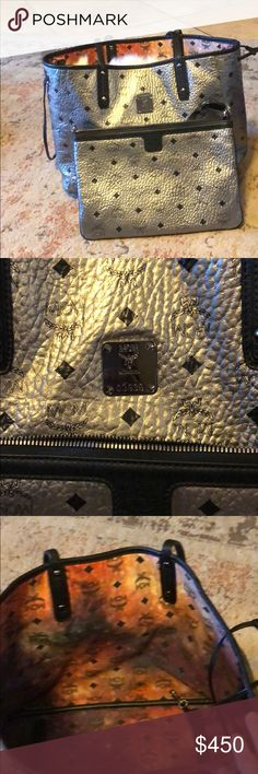 MCM tote Great condition MCM tote in the silver inside is the galaxy print which could be reversed so it can be reversible MCM Bags Totes