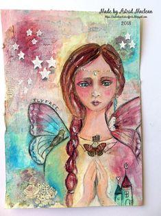 Astrid's Artistic Efforts: Garden Fairy, Lifebook 2018 no 2; Jan 2018 #astridmaclean #astridsartisticefforts #lifebook2018 #artjournal #journalpage