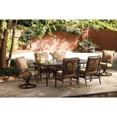 Thomasville Messina 7-Piece Patio Dining Set with Cocoa Cushions-FG-MN7PCDS-CC at The Home Depot