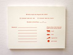 RSVP card for a wedding invitation