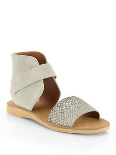 Vince - Sage Snakeskin & Suede Sandals // #fashion