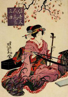 09. GEISHA-Rijksmuseum Volkenkunde_10 okt. tm 6 apr. 2015_Deel van een triptiek van musicerende geisha door Keisai Eisen, 1790-1848