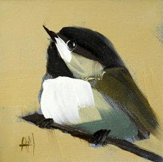chickadee no. 141 print by angela moulton 4 x 4 inches prattcreekart via Etsy Watercolor Bird, Watercolor Paintings, Wow Art, Paintings I Love, Bird Pictures, Art Themes, Pics Art, Art Oil, Painting Inspiration