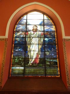 Louis Comfort Tiffany stained glass window of Jesus Christ