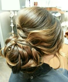 Curled romantic updos and Bridal Hair by www.theposhparlour.com