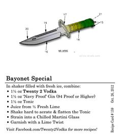 Bayonet Special #Cocktail #Recipe In shaker filled with fresh ice, combine: 1.5 oz Twenty 2 Vodka 1.5 oz 'Navy Proof' Gin (94 Proof or Higher) 1.5 oz Tonic Juice from half a fresh lime Shake hard to aerate & flatten the Tonic Strain into a chilled martini glass Garnish with a lime twist #Gin #Lime #NavyProof  #Tonic #MartiniGlass #Maine