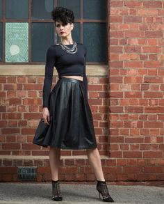 The soft nappa leather is used to craft a timeless pleated skirt. Shop The Runway, Fashion Labels, Ethical Fashion, Powerful Women, Amazing Women, New Look, Leather Skirt, Fashion Beauty, High Waisted Skirt