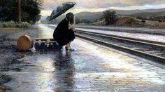 Steve Hanks. Leaving in the Rain (watercolor): levkonoe
