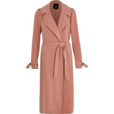 River Island Pink belted duster trench coat (34.445 HUF) found on Polyvore featuring women's fashion, outerwear, coats, coats / jackets, pink, women, pink trench coat, pink trenchcoat, belted trench coat and tall trench coat