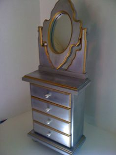 handpainted silver leaf jewelry box armoire by Reimaginations, $75.00