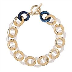Mimco, Remix Choker, chunky links fashioned from clear and marbled blue acrylic and gold plating Gold Plating, Casablanca, Statement Jewelry, Muse, Marble, Chokers, Necklaces, Awesome, Rings