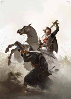 Saracen Fighting a Mounted Crusader Angel Warrior, Fantasy Warrior, Fantasy Art, Medieval Knight, Medieval Armor, Christian Warrior, Armadura Medieval, Wildlife Paintings, Knights Templar