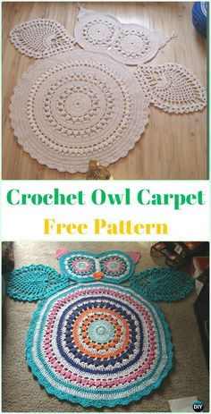 Crochet Patterns Ideas Crochet Owl Carpet Rug Free Pattern -Crochet Area Rug Ideas Free Patterns - 10 DIY Crochet Area Rug Ideas with Free Patterns: for dinning room, living room, bedroom or even as kitchen mat, a great addition to interior decor, Crochet Diy, Crochet Mandala, Crochet Home, Crochet For Kids, Crochet Rugs, Knitted Rug, Mandala Rug, Crochet Ideas, Carpet Diy