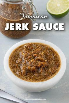 Jamaican Jerk Sauce Jamaican Jerk Sauce – This Jamaican jerk sauce recipe is made with fiery Scotch Bonnets peppers, aromatics and a number of seasonings that make it a must for spicy sauce lovers. Jamaican Cuisine, Jamaican Dishes, Jamaican Recipes, Jamaican Jerk Sauce, Jamaican Jerk Seasoning, Authentic Jerk Seasoning Recipe, Jamaican Curry Chicken, Chicken Curry, Sauce Chili
