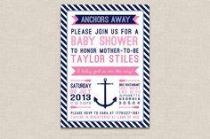 Nautical Baby Shower Invitation, Anchors Away Baby Girl Nautical PRINTABLE Baby Shower Invitation, Nautical Baby Shower, Pink Nautical on Etsy, $12.00