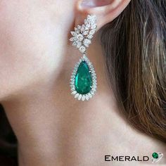 Pair this fascinating pair of emerald earrings with any ensemble for a polished look. Emerald Earrings, Emerald Jewelry, Diamond Pendant Necklace, Gold Jewelry, Dangle Earrings, Fine Jewelry, Gold Bracelets, Jewellery Box, Diamond Necklaces