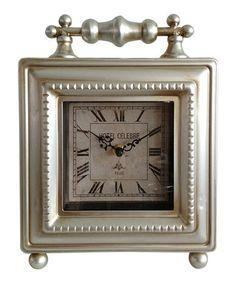 Silver 'Hotel De Ville' Square Table Clock