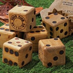 Take your favorite dice games outdoor with this Giant Wood Yard Dice set. These gigantic wooden dice are made in the USA and are cut from hard wood Giant Yard Games, Backyard Games, Backyard Bbq, Backyard Ideas, Garden Games, Garden Ideas, Woodworking Projects Plans, Teds Woodworking, Yard Yahtzee