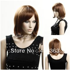 Qi bang women natural wig hot graceful short curly synthetic wig cheap best quality light brown none lace wig 100% Kanekalon