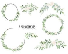 7 Greenery and white flowers & two digital papers watercolor Watercolor Projects, Wreath Watercolor, Watercolor Wedding, Watercolor Cards, Watercolour, Green Wedding, Wedding Flowers, Wreath Drawing, Clip Art
