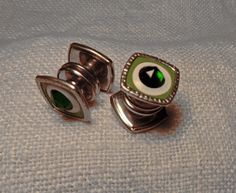 1920's Green Stone Enamel Snap Cufflinks from Chicago Illinois in the Thirties by toyhstreasures on Etsy