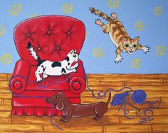 DOG and CATS playing with yarn Whimsical fun art by JEllisonArt