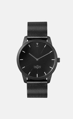A time teller for both her and him, crafted for individuals who find sophistication in minimalistic design. Featuring a matte black stainless steel case and adjustable matte black mesh strap. A black