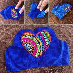 #corazonbordado sobre #telaazul en proceso . . . . . . . . . . #embroideredheart #coeurbrodé #coraçãobordado #bordadoamano #bordado… Mexican Embroidery, Embroidery Monogram, Hand Embroidery Stitches, Modern Embroidery, Beaded Embroidery, Hand Applique, Fabric Jewelry, Felt Hearts, Crochet For Beginners