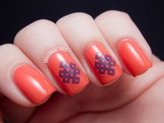 Nail Tattoo - Coral and Purple Colour Combination