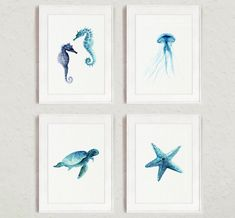 Set of 4 Starfish Seaturtle Seahorse Jellyfish by ColorWatercolor