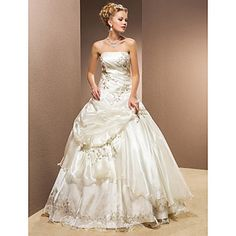 Ball Gown Strapless Organza Floor-length Wedding Dress – USD $ 499.99