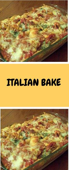 ITALIAN BAKE Love Italian flavors and gobs of cheese? Then this is your casserol. Potluck Dishes, Pasta Dishes, Food Dishes, Pasta Food, Beef Recipes, Chicken Recipes, Cooking Recipes, Chicken Meals, Recipies
