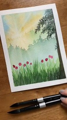 Watercolor Paintings For Beginners, Watercolor Art Lessons, Watercolor Landscape Paintings, Watercolor Techniques, Watercolor Beginner, Watercolor Journal, Landscapes To Paint, Watercolor Painting Tutorials, Painting Videos