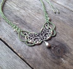 Micro macrame necklace elven jewelry necklace by creationsmariposa