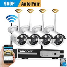 Better Than 720PSmonet 4CH 1080P 1TB HD NVR Wireless Security CCTV Surveillance SystemsWIFI DVR KitsFour 960P Wireless WIFI Indoor Outdoor IP CamerasP2P65FT Night Vision -- Click image for more details.
