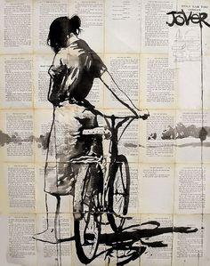 «Girl» by Loui Jover, Australien. Tusche auf Vintage-Buchseiten