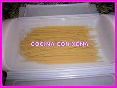 COCINA CON XENA: Espaguetis con tomate y atún en Baúl Lékué..en Mic...
