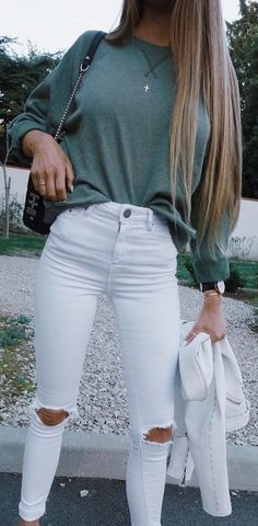 #fall #outfits / green knit + white