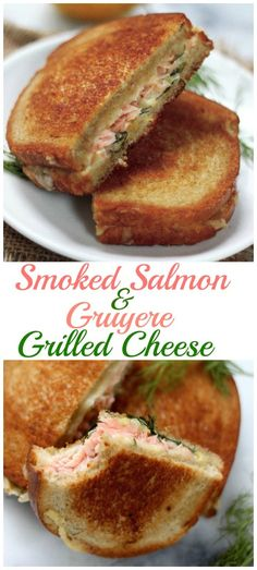 Smoked Salmon and Gruyere Grilled Cheese - Ready in just minutes, this amazing flavor combo is perfect for lunch, brunch, or dinner! Made even better by substituting Morey's Wood Roasted Wild Salmon Fish Creations! Sandwich Recipes, Fish Recipes, Seafood Recipes, Cooking Recipes, Dinner Recipes, Grilled Bread, Grilled Salmon, Grilled Cheeses, Tacos