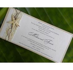 DRIFWOOD - Flat DL invitation featuring handmade paper, bramble vine and starfish. Perfect for weddings on the sand.