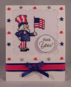 I made this card using a $1 Uncle Sam cross stitch kit I found at JoAnns
