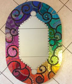 Large Stained Glass Mosaic Mirror by SpoiledRockinMosaics on Etsy